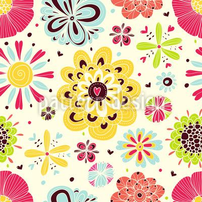 Summer Splash Floral Nahtloses Vektor Muster