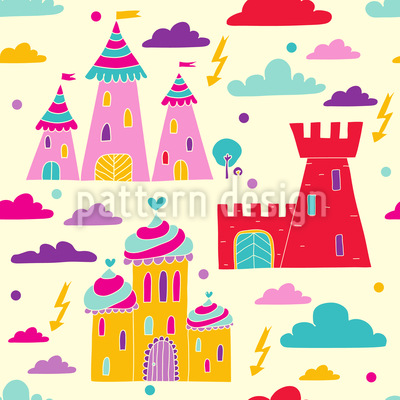 Castles In The Sky Seamless Vector Pattern Design