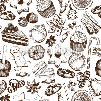 Christmas Treats Seamless Vector Pattern Design