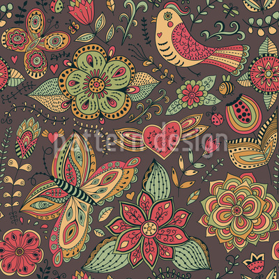 Enchanting Land Of Fantasy Seamless Vector Pattern Design
