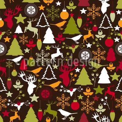 Christmas In The Forest Seamless Vector Pattern Design