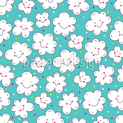 Clouds Smile Vector Pattern