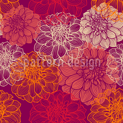 My Beautiful Dahlias Seamless Vector Pattern Design