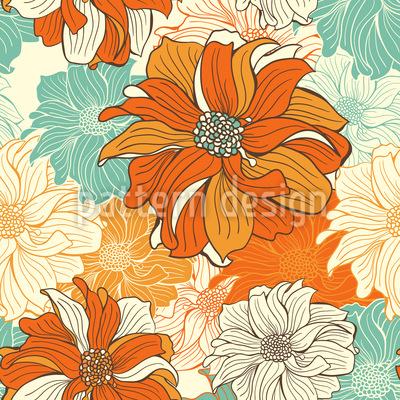 Hand-drawn flowers of dahlia Pattern Design