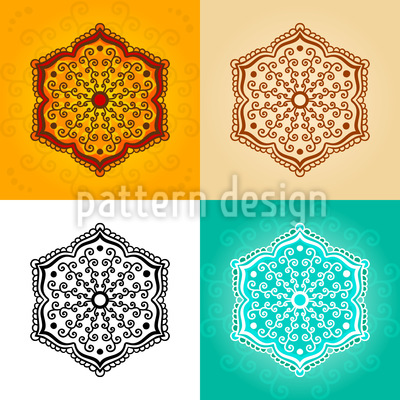 Mehndi Flowers Vector Ornament