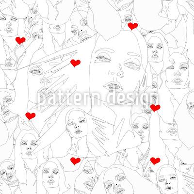 Gesicht Der Liebe Nahtloses Vektormuster