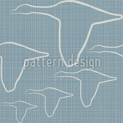 Die Gänse Fliegen Auf Denim Nahtloses Muster