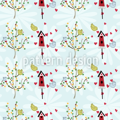 Bird House Romance Seamless Vector Pattern