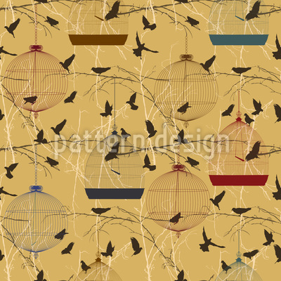 Aviary Seamless Vector Pattern Design