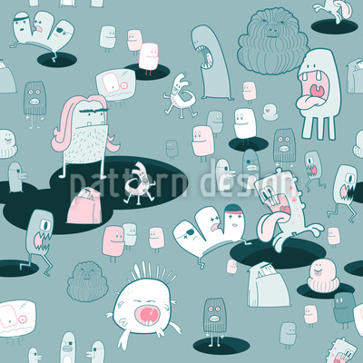 The Monster Come Seamless Vector Pattern Design