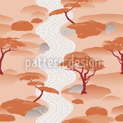 Japanese Garden Seamless Vector Pattern Design