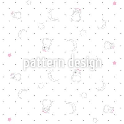 Goodnight Little Owl Seamless Vector Pattern