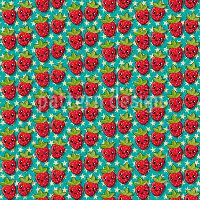 Kawaii Strawberry Seamless Vector Pattern Design