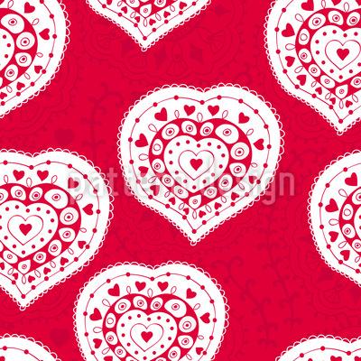 Russian Hearts Seamless Pattern