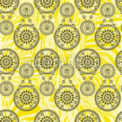 Mehndi Gelb Nahtloses Vektormuster