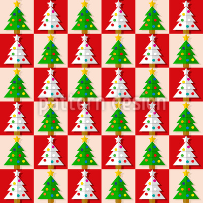 Chess With Christmas Trees Vector Ornament