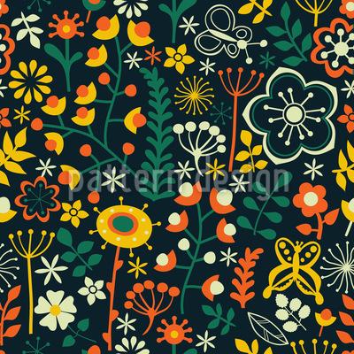 Sommerblumen Bei Nacht Nahtloses Muster
