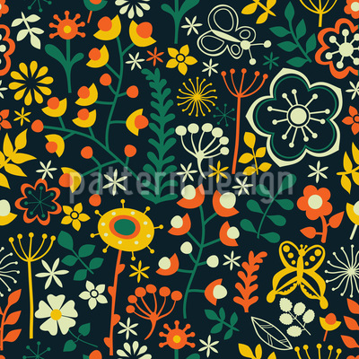 Summer Flowers At Night Seamless Pattern