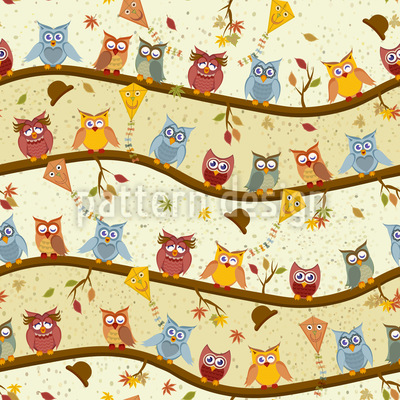 Owl Hotel Seamless Vector Pattern Design