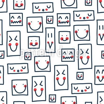 Smileys Zum Quadrat Nahtloses Vektor Muster