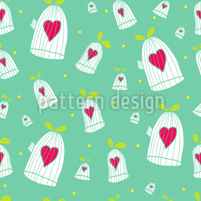 Hearts Open Cage Doors Vector Pattern