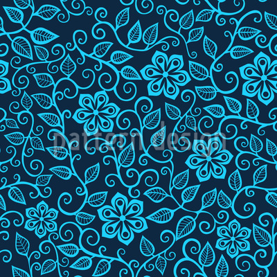 Star Flowers At Night Vector Ornament