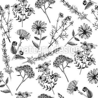 Flores curativas Nostalgia Estampado Vectorial Sin Costura