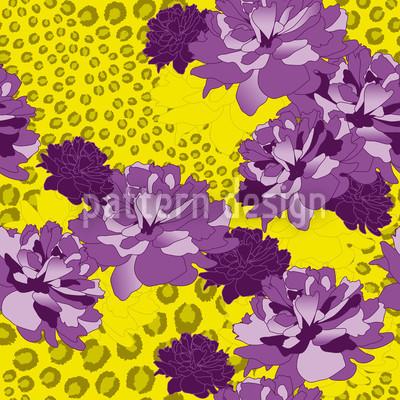 Leopardo Floral Design de padrão vetorial sem costura