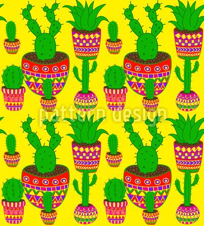 Kaktus Mexiko Nahtloses Vektormuster