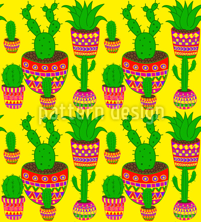 Mexican Cactus Seamless Pattern