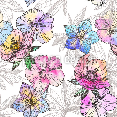 Flora Loves Water And Color Seamless Vector Pattern Design