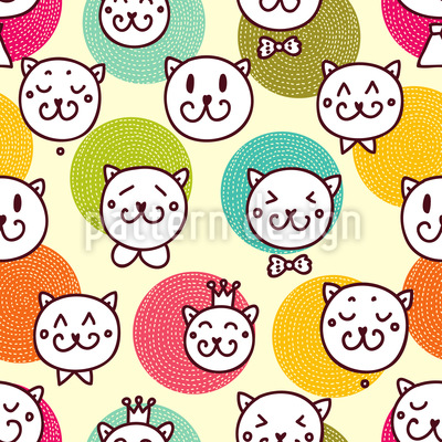 Cat King And Friends Seamless Pattern
