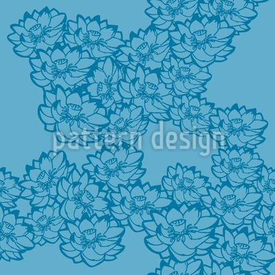 Water Lilies Blue Seamless Vector Pattern Design