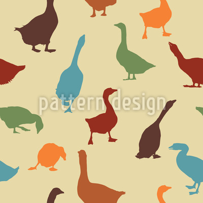 Gabbling Goose Seamless Vector Pattern Design