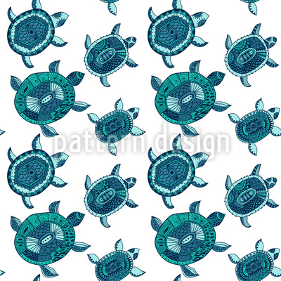 The Fantastic Journey Of The Sea Turtles Seamless Vector Pattern