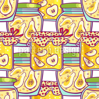 Stewed Fruits In The Glass Seamless Vector Pattern Design