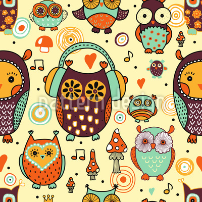 Owl Love Music Very Much Repeating Pattern