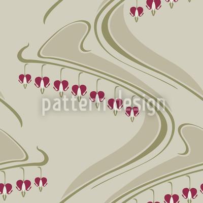 Herzblüten Beige Nahtloses Muster