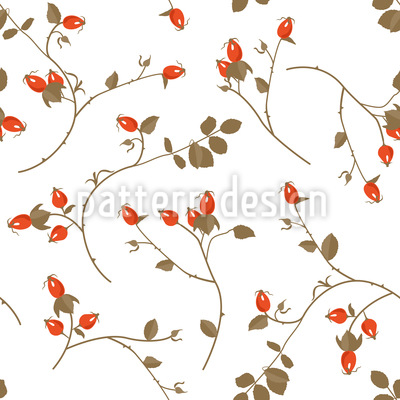 Rosehips Seamless Vector Pattern