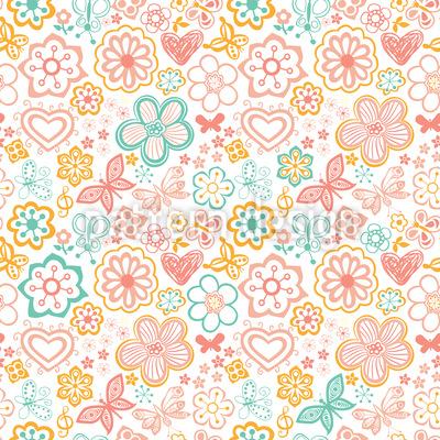 Schmetterlinge Und Blumen Erwachen Muster Design