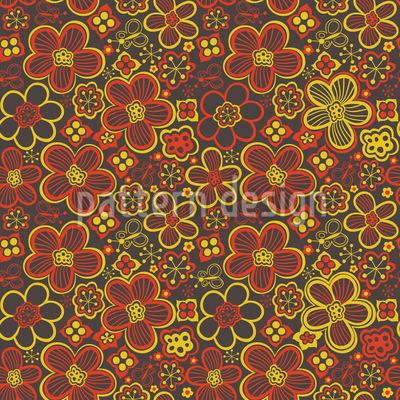 Retro Blumenrausch Rapportiertes Design
