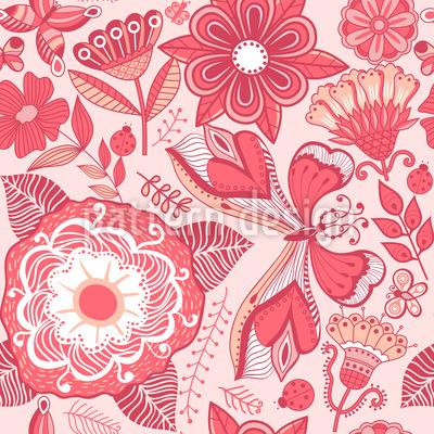 Butterfly And Flower Fantasies Seamless Vector Pattern Design