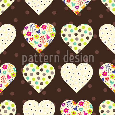 Patchwork Hearts On Polkadots Pattern Design