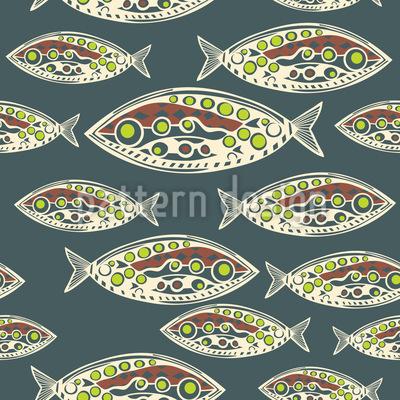 Peixe Polinésio Design de padrão vetorial sem costura
