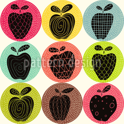 Ein Apfel Am Tag Nahtloses Vektormuster