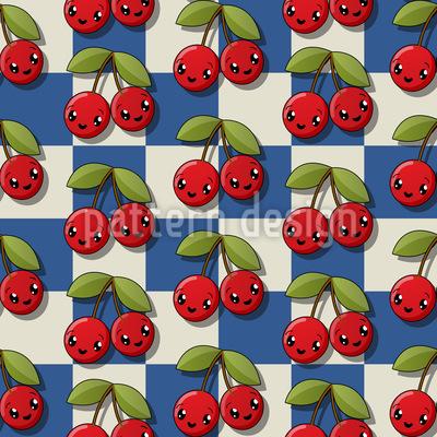 Kawaii Cherry Couples Vector Pattern
