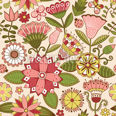Der Geheime Fantasie Garten Nahtloses Vektor Muster