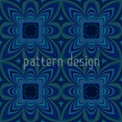 Night Flower Kaleidoscope Seamless Pattern