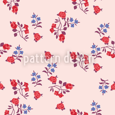 Mille Fleurs On Rose Seamless Vector Pattern