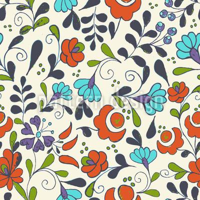 Folklore Blumen Auf Vasen Nahtloses Vektormuster